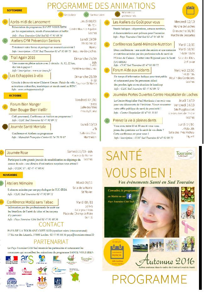 Programme Santé Vous Bien Autommne 2016
