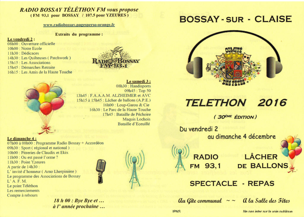 Affiche Téléthon Bossay 2016